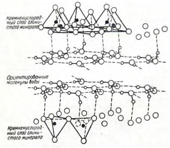 Конфигурация сетки воды, связанной с поверхностью глинистого минерала посредством водорода
